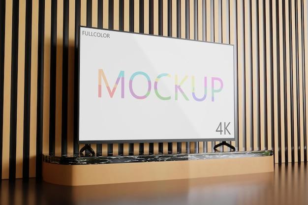 Full-color tv-mockup minimalistisch, zijaanzicht realistisch 3d weergegeven