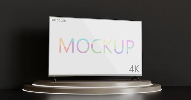 Full colour tv-mockup op het podium van de showcase 3d weergegeven