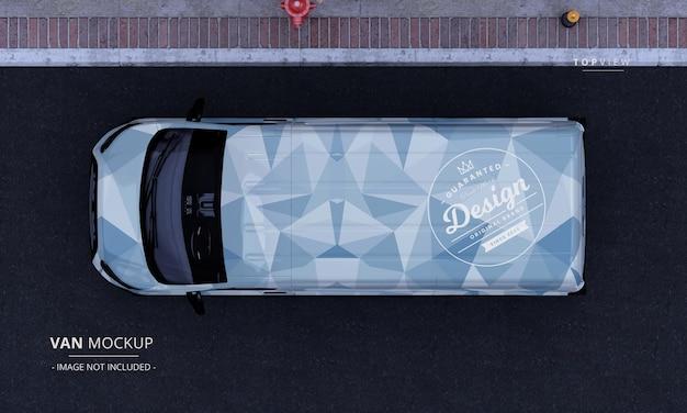Furgoneta utilitaria realista en la vista superior de la maqueta del coche de la calle