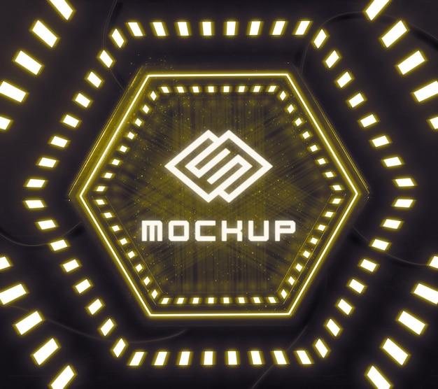Futuristisch logo-effect geprojecteerd