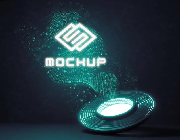 Futuristisch logomodel in fel licht