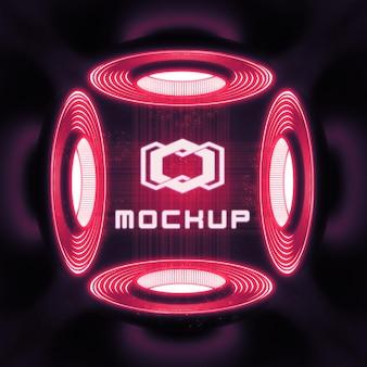 Futuristisch logomodel in neonlichten