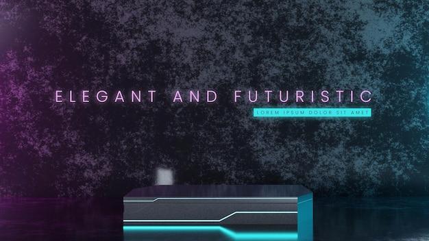 Futuristisch metalen podium met neon