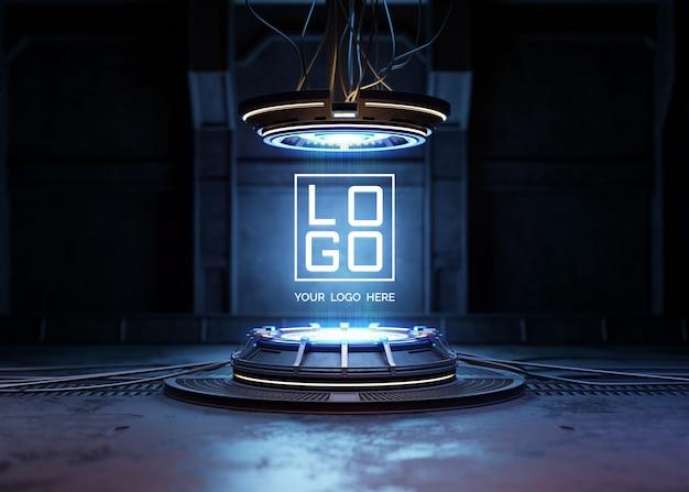 Futuristisch voetstuk voor logo-mockup