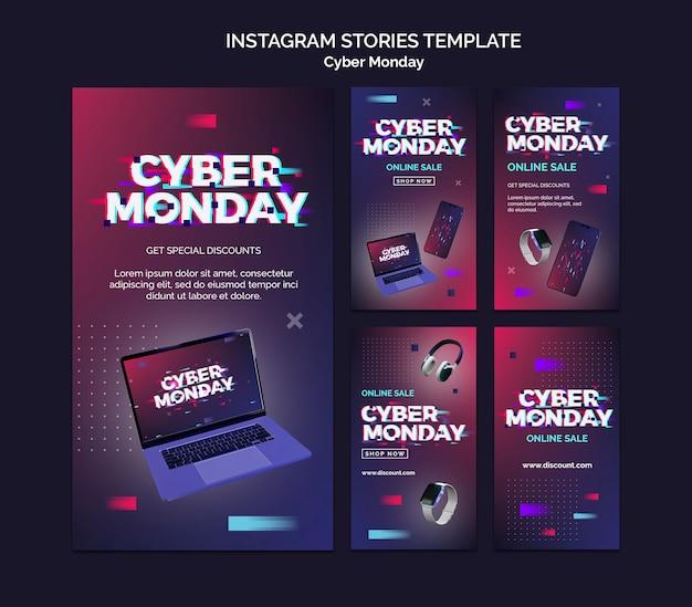 Futuristische cyber maandag ig verhalen set