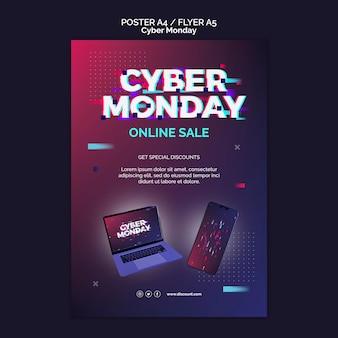Futuristische cybermaandag-afdruksjabloon