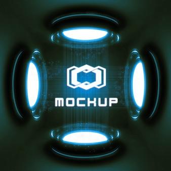 Futuristische logo mock-up effectprojector