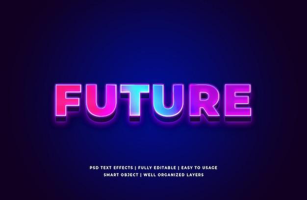 Futuro efecto de estilo de texto en 3d premium psd