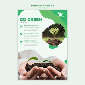 Ga groen poster sjabloon met foto