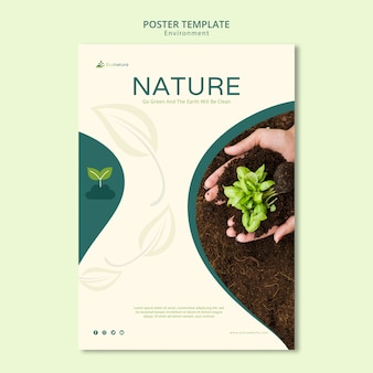 Ga groen zaailingen vierkant sjabloon folder