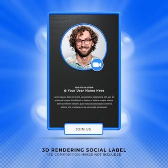 Ga met me mee op zoom sociale media onderste derde 3d-ontwerp render banner icon profile