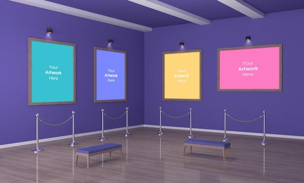 Galería de arte de cuatro cuadros muckup vista de esquina de ilustración 3d