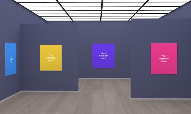 Galería de arte frames muckup ilustración 3d con pared gris