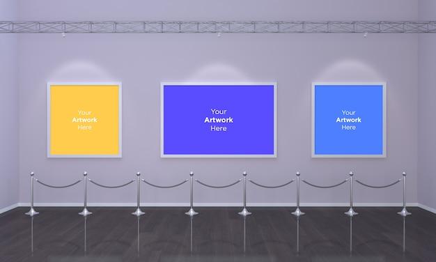 Galería de arte de tres cuadros muckup ilustración 3d y renderizado 3d