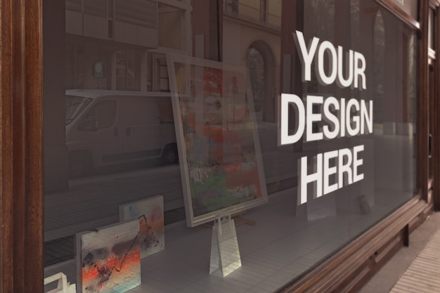 Gallery glass logo mockup