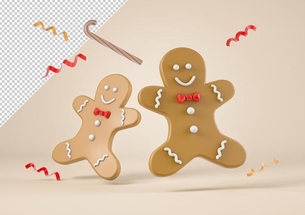 Galletas de navidad, pan de jengibre y confeti volando, maqueta
