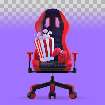 Gamer stoel met entertainment elementen. 3d illustratie