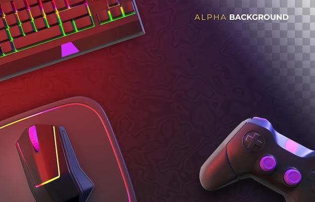 Gamerachtergrond met accessoires voor videogames