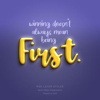 Ganar no siempre significa ser la primera cita efecto de estilo de texto 3d