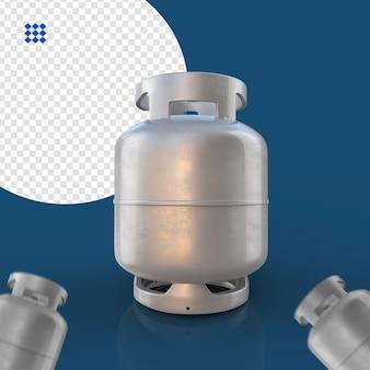 Gas zilveren cilinder geïsoleerd