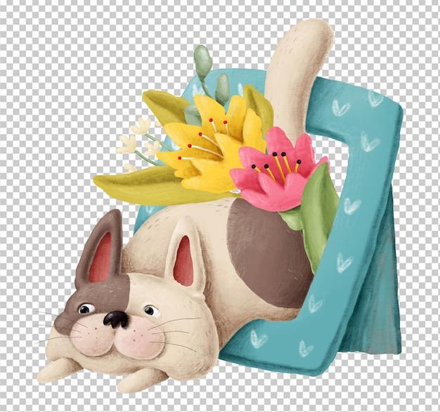 Gattino sveglio con l'illustrazione disegnata a mano dei fiori