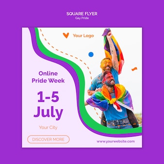 Gay pride vierkante flyer-sjabloon