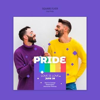 Gay prinde concepten vierkante flyer-sjabloon