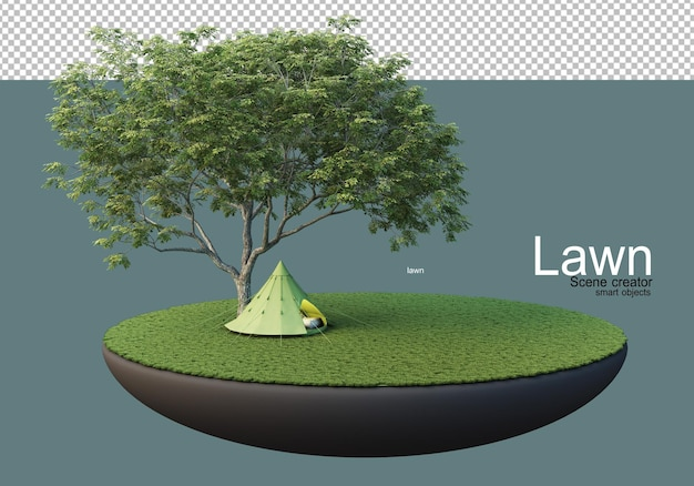 Gazon met grote bomen en meubelsets