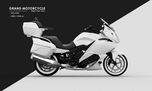 Geã¯soleerde witte grote motorfiets van rechts zijaanzicht