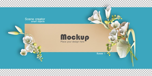 Geassorteerde bloem frame illustratie mockup Premium Psd