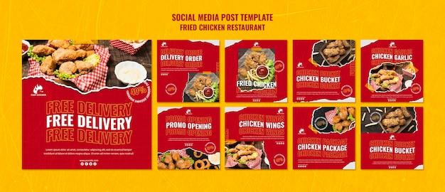 Gebakken kip restaurant sociale media post-sjabloon