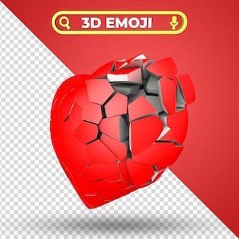 Gebroken hart 3d-rendering emoji geïsoleerd