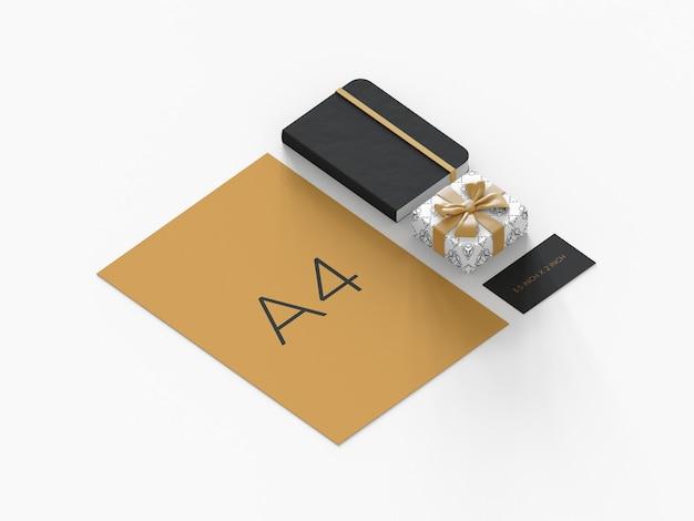 Gebruiksklaar premium merkmodel met orthografische weergave van geschenkdoos