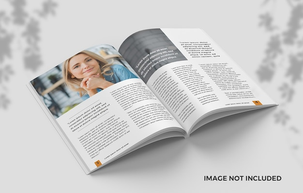Gecentreerd geopend tijdschrift van bovenaanzicht met mockup