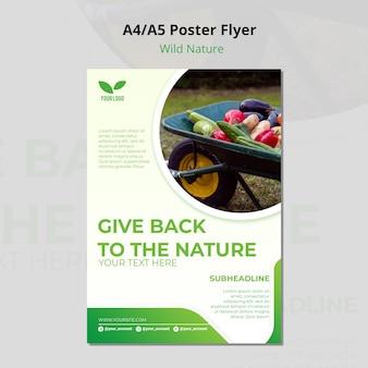 Geef terug aan de natuur milieu-poster sjabloon