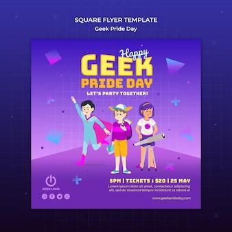 Geek pride day flyer-sjabloon met superheld