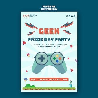 Geek pride day flyer-sjabloon