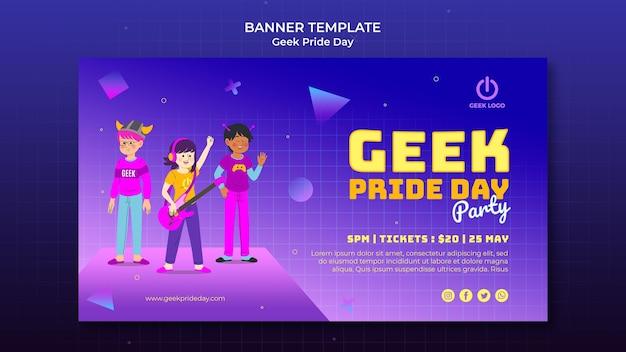 Geek pride day-sjabloon voor spandoek met juichende mensen
