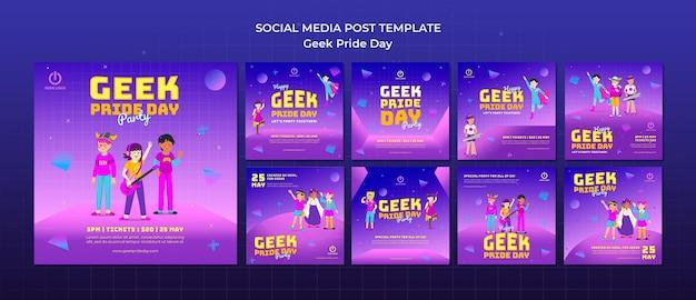 Geek pride day social media postsjabloon
