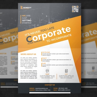 Geel en grijs corporate flyer sjabloon