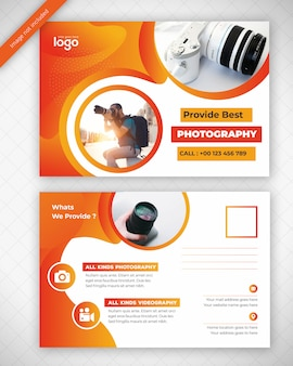 Geel fotografie postkaart ontwerp