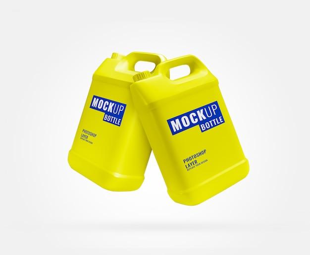Geel reclamemodel met lange gallonfles
