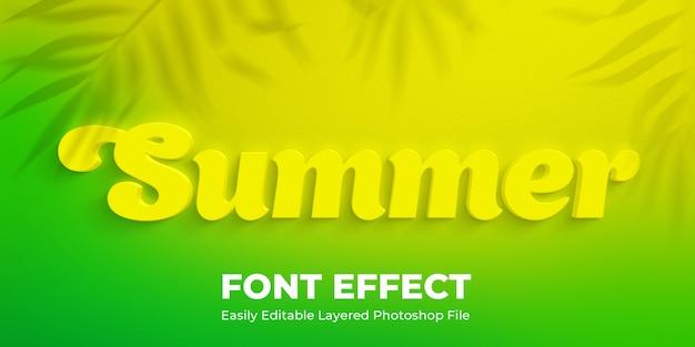 Geel tekststijleffect mockup met palmbladeren schaduw
