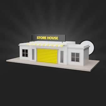 Geel winkelhuis 3d render