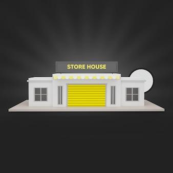 Geel winkelhuis 3d