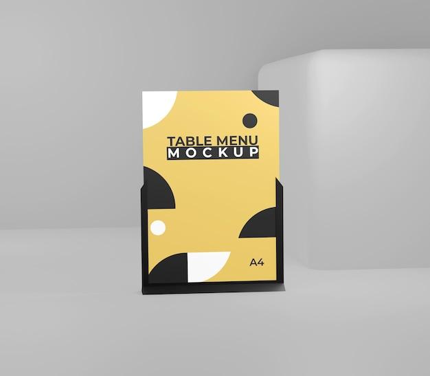 Geel zwart eenvoudig menu tafelmodel