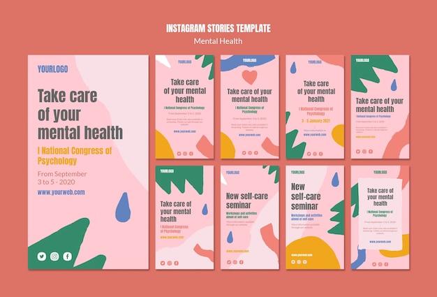 Geestelijke gezondheid instagram verhalen sjabloon