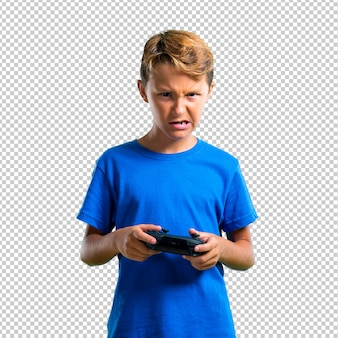 Gefrustreerd kind dat de console speelt