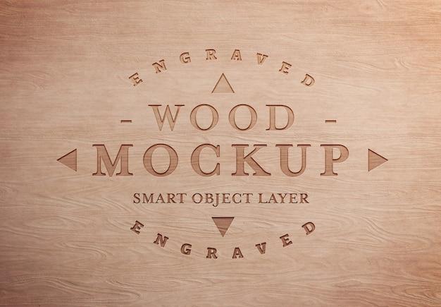 Gegraveerd houten teksteffect mockup