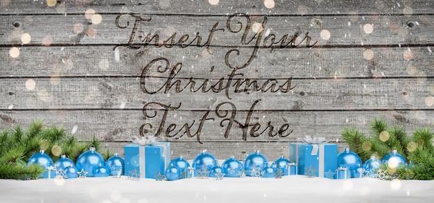 Gegraveerde houten mockup met kerstballen